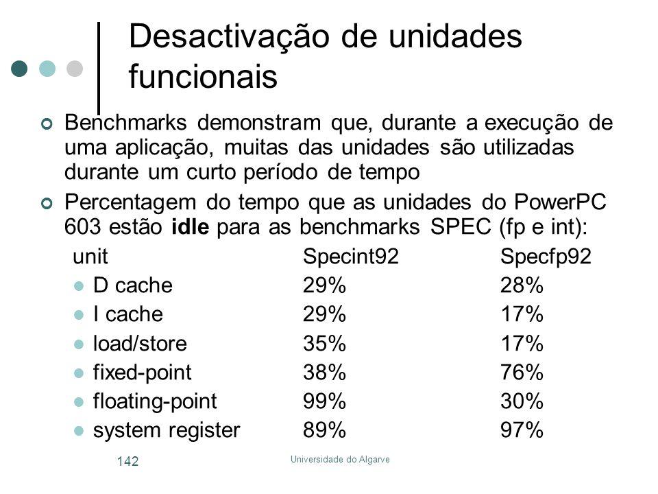 Universidade do Algarve 142 Desactivação de unidades funcionais Benchmarks demonstram que, durante a execução de uma aplicação, muitas das unidades são utilizadas durante um curto período de tempo Percentagem do tempo que as unidades do PowerPC 603 estão idle para as benchmarks SPEC (fp e int): unitSpecint92Specfp92  D cache29%28%  I cache29%17%  load/store35%17%  fixed-point38%76%  floating-point99%30%  system register89%97%