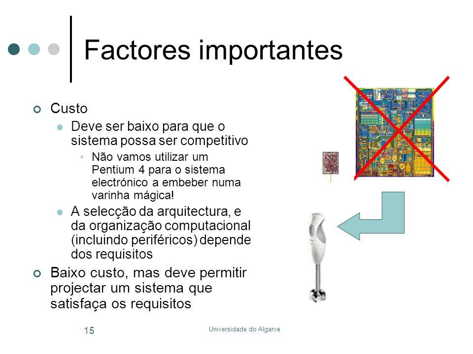 Universidade do Algarve 15 Factores importantes Custo  Deve ser baixo para que o sistema possa ser competitivo •Não vamos utilizar um Pentium 4 para