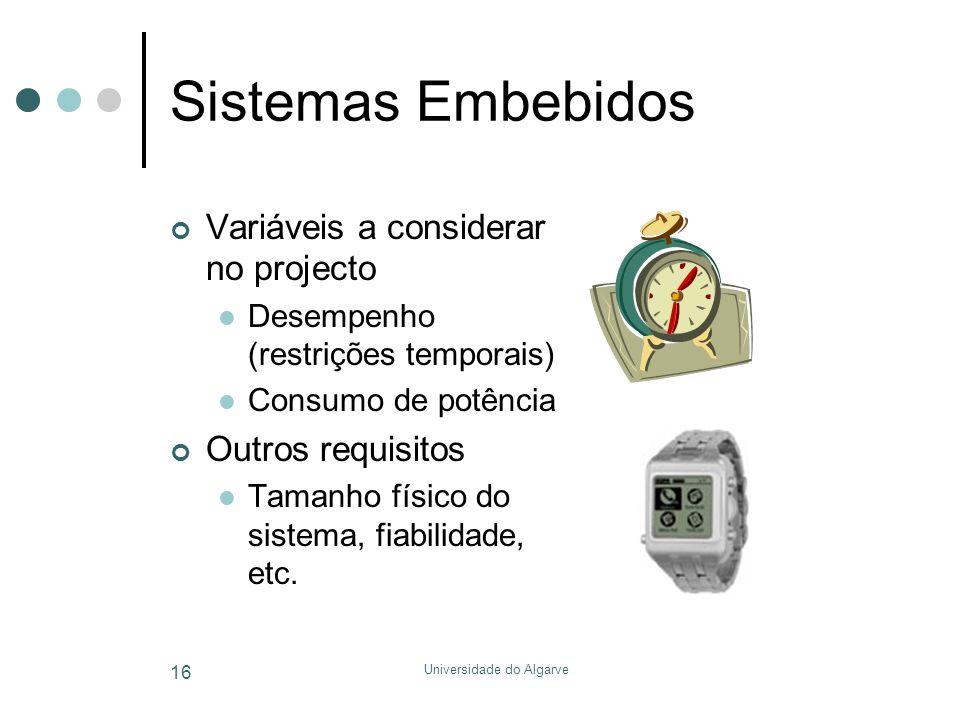 Universidade do Algarve 16 Sistemas Embebidos Variáveis a considerar no projecto  Desempenho (restrições temporais)  Consumo de potência Outros requ