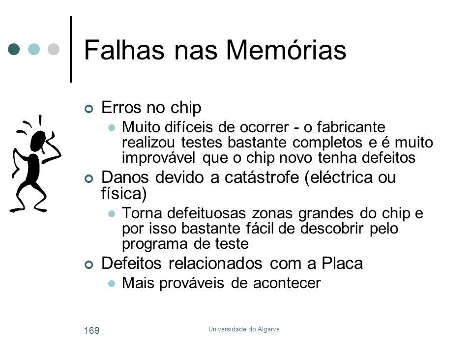 Universidade do Algarve 169 Falhas nas Memórias Erros no chip  Muito difíceis de ocorrer - o fabricante realizou testes bastante completos e é muito
