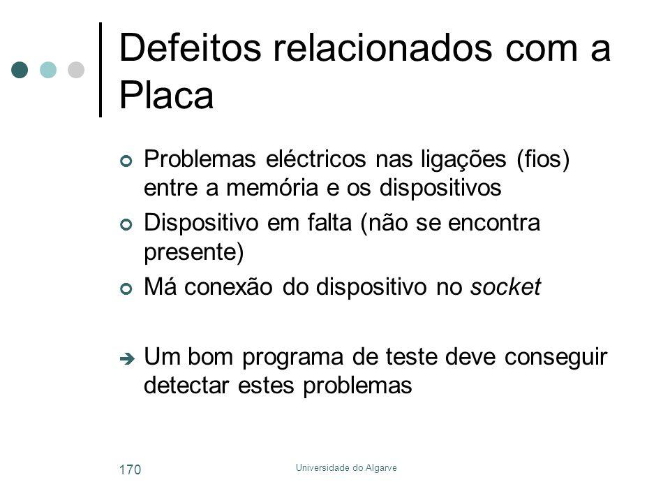 Universidade do Algarve 170 Defeitos relacionados com a Placa Problemas eléctricos nas ligações (fios) entre a memória e os dispositivos Dispositivo em falta (não se encontra presente) Má conexão do dispositivo no socket  Um bom programa de teste deve conseguir detectar estes problemas
