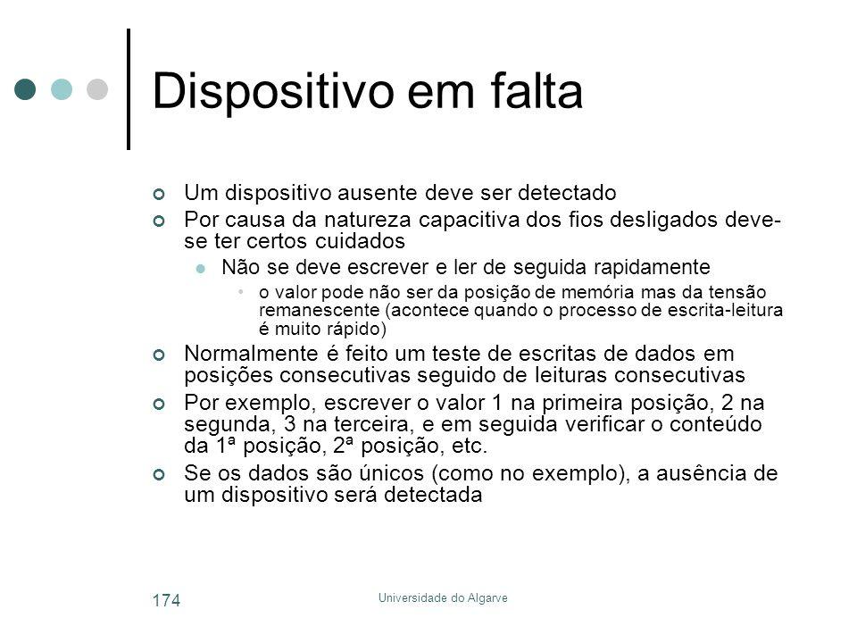 Universidade do Algarve 174 Dispositivo em falta Um dispositivo ausente deve ser detectado Por causa da natureza capacitiva dos fios desligados deve-