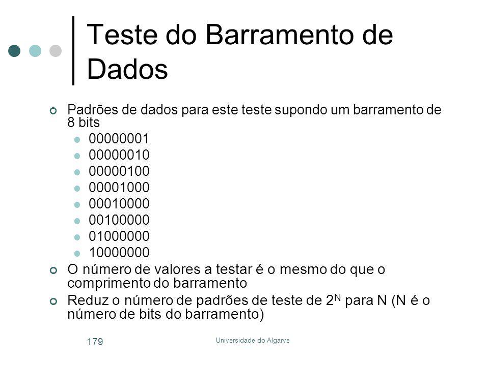 Universidade do Algarve 179 Teste do Barramento de Dados Padrões de dados para este teste supondo um barramento de 8 bits  00000001  00000010  00000100  00001000  00010000  00100000  01000000  10000000 O número de valores a testar é o mesmo do que o comprimento do barramento Reduz o número de padrões de teste de 2 N para N (N é o número de bits do barramento)