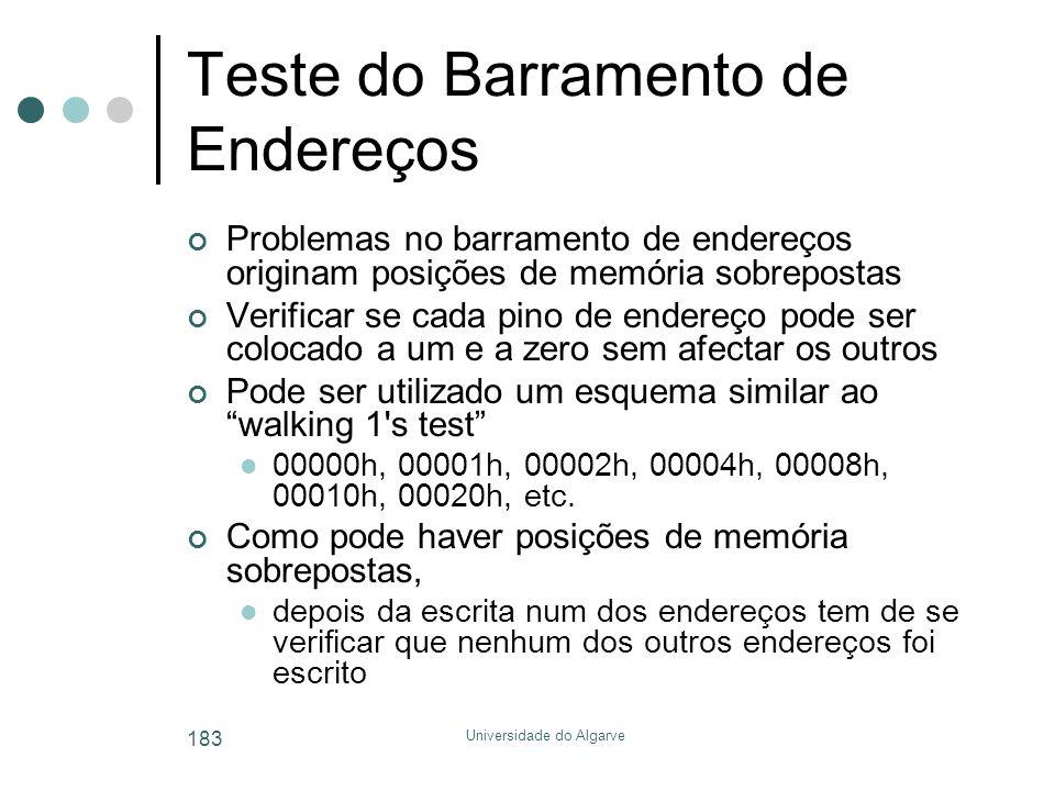 Universidade do Algarve 183 Teste do Barramento de Endereços Problemas no barramento de endereços originam posições de memória sobrepostas Verificar s