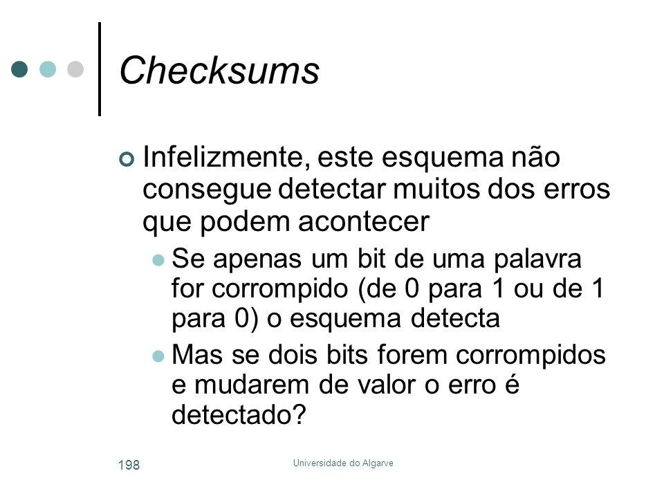 Universidade do Algarve 198 Checksums Infelizmente, este esquema não consegue detectar muitos dos erros que podem acontecer  Se apenas um bit de uma