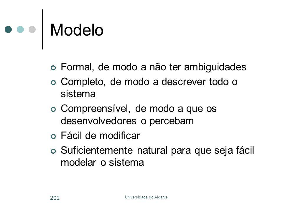 Universidade do Algarve 202 Modelo Formal, de modo a não ter ambiguidades Completo, de modo a descrever todo o sistema Compreensível, de modo a que os