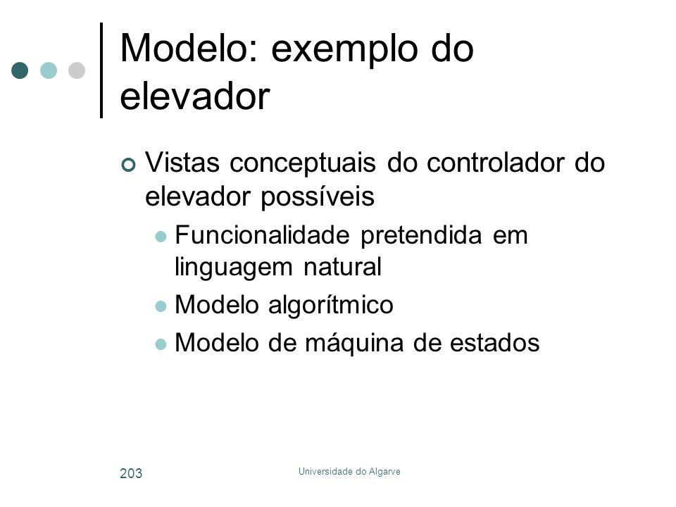 Universidade do Algarve 203 Modelo: exemplo do elevador Vistas conceptuais do controlador do elevador possíveis  Funcionalidade pretendida em linguagem natural  Modelo algorítmico  Modelo de máquina de estados