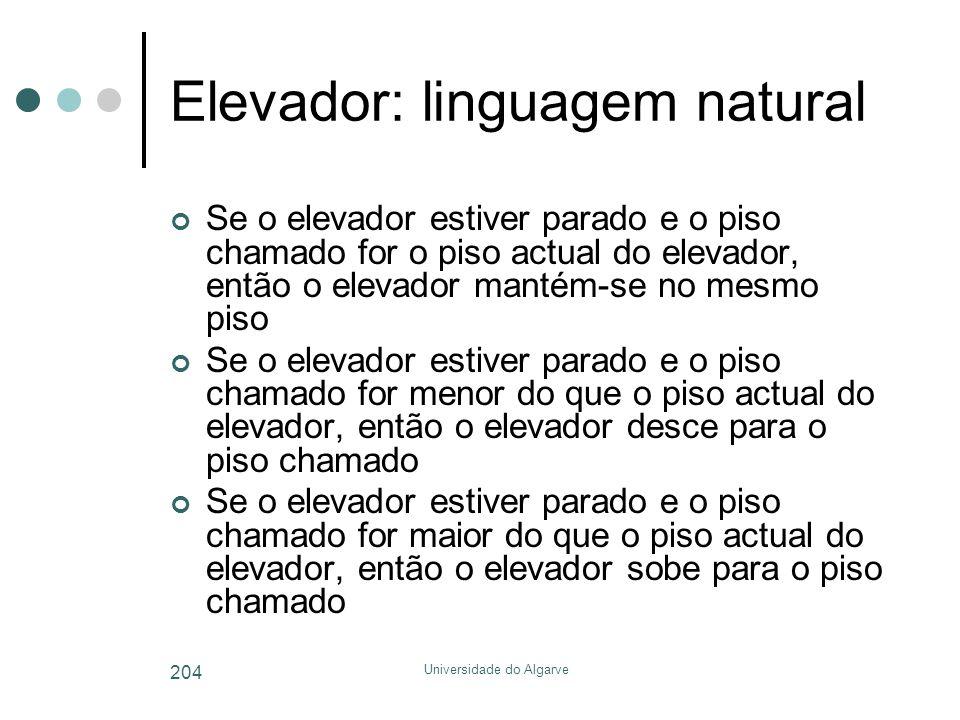 Universidade do Algarve 204 Elevador: linguagem natural Se o elevador estiver parado e o piso chamado for o piso actual do elevador, então o elevador