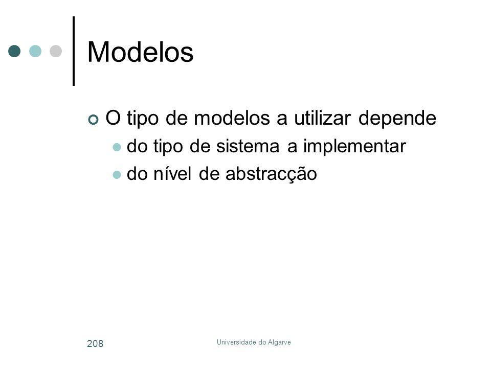 Universidade do Algarve 208 Modelos O tipo de modelos a utilizar depende  do tipo de sistema a implementar  do nível de abstracção