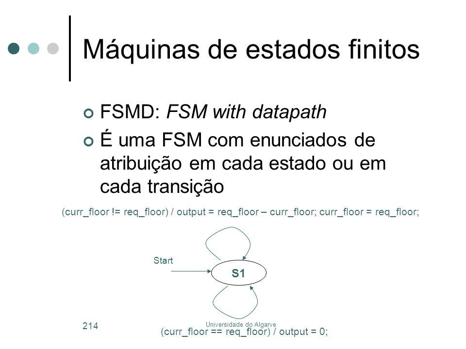 Universidade do Algarve 214 Máquinas de estados finitos FSMD: FSM with datapath É uma FSM com enunciados de atribuição em cada estado ou em cada transição S1 (curr_floor != req_floor) / output = req_floor – curr_floor; curr_floor = req_floor; Start (curr_floor == req_floor) / output = 0;