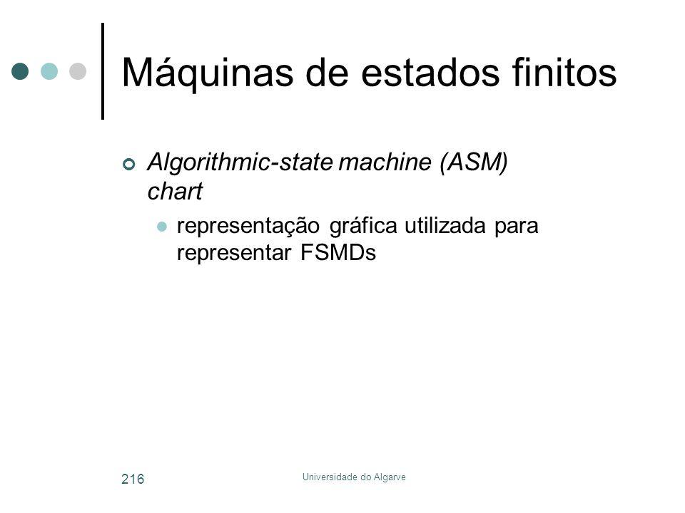 Universidade do Algarve 216 Máquinas de estados finitos Algorithmic-state machine (ASM) chart  representação gráfica utilizada para representar FSMDs