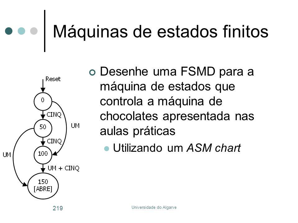 Universidade do Algarve 219 Máquinas de estados finitos Desenhe uma FSMD para a máquina de estados que controla a máquina de chocolates apresentada nas aulas práticas  Utilizando um ASM chart