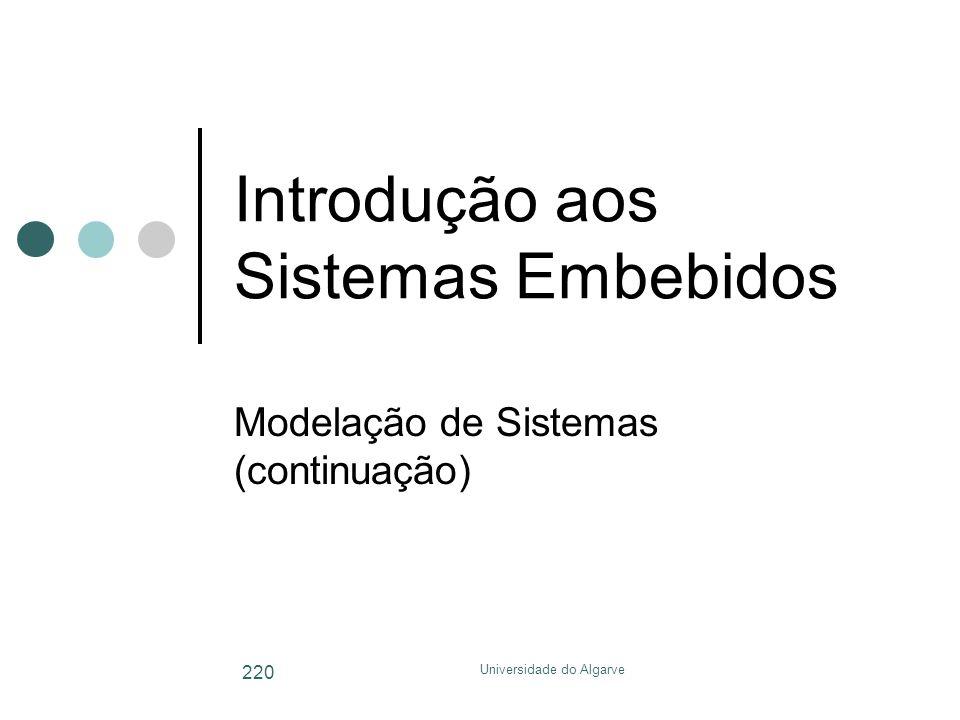 Universidade do Algarve 220 Introdução aos Sistemas Embebidos Modelação de Sistemas (continuação)