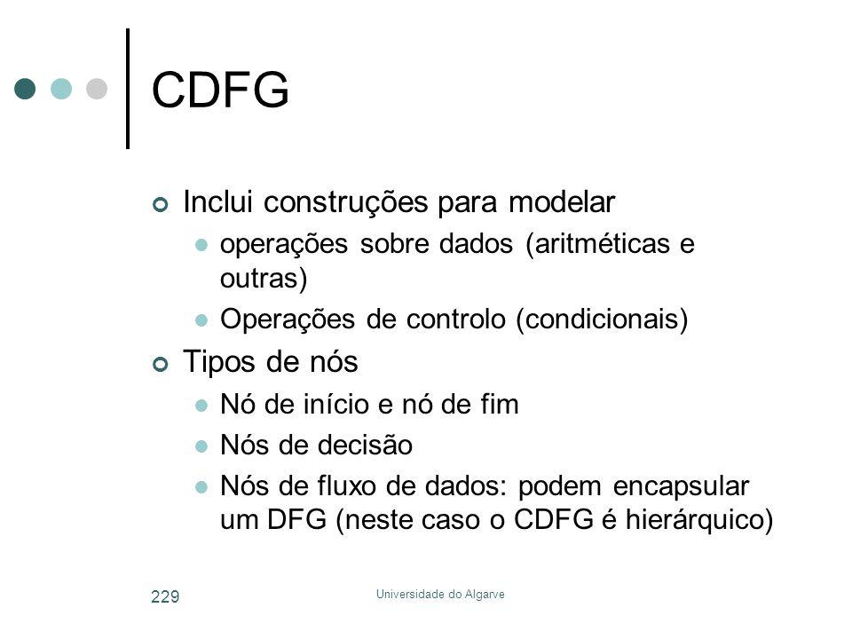 Universidade do Algarve 229 CDFG Inclui construções para modelar  operações sobre dados (aritméticas e outras)  Operações de controlo (condicionais) Tipos de nós  Nó de início e nó de fim  Nós de decisão  Nós de fluxo de dados: podem encapsular um DFG (neste caso o CDFG é hierárquico)