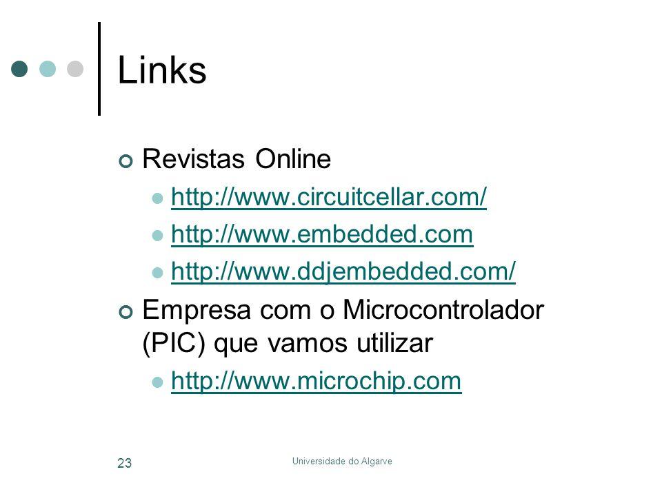 Universidade do Algarve 23 Links Revistas Online  http://www.circuitcellar.com/ http://www.circuitcellar.com/  http://www.embedded.com http://www.embedded.com  http://www.ddjembedded.com/ http://www.ddjembedded.com/ Empresa com o Microcontrolador (PIC) que vamos utilizar  http://www.microchip.com http://www.microchip.com