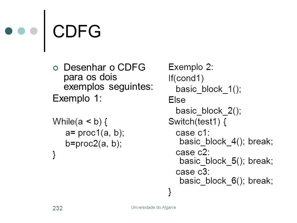 Universidade do Algarve 232 CDFG Desenhar o CDFG para os dois exemplos seguintes: Exemplo 1: While(a < b) { a= proc1(a, b); b=proc2(a, b); } Exemplo 2