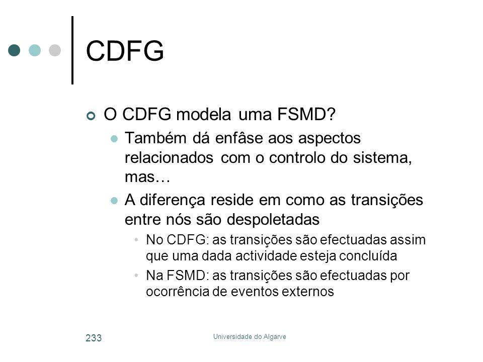 Universidade do Algarve 233 CDFG O CDFG modela uma FSMD?  Também dá enfâse aos aspectos relacionados com o controlo do sistema, mas…  A diferença re