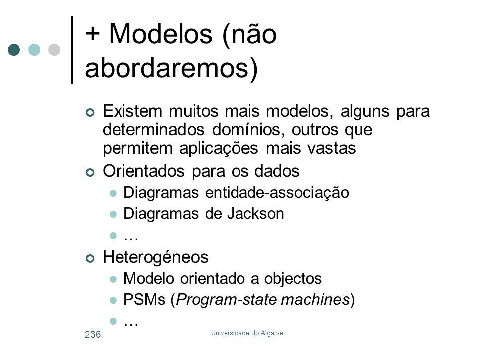 Universidade do Algarve 236 + Modelos (não abordaremos) Existem muitos mais modelos, alguns para determinados domínios, outros que permitem aplicações mais vastas Orientados para os dados  Diagramas entidade-associação  Diagramas de Jackson  … Heterogéneos  Modelo orientado a objectos  PSMs (Program-state machines)  …