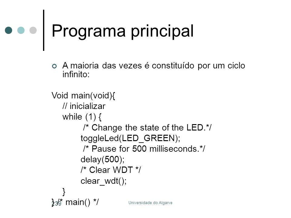 Universidade do Algarve 239 Programa principal A maioria das vezes é constituído por um ciclo infinito: Void main(void){ // inicializar while (1) { /*