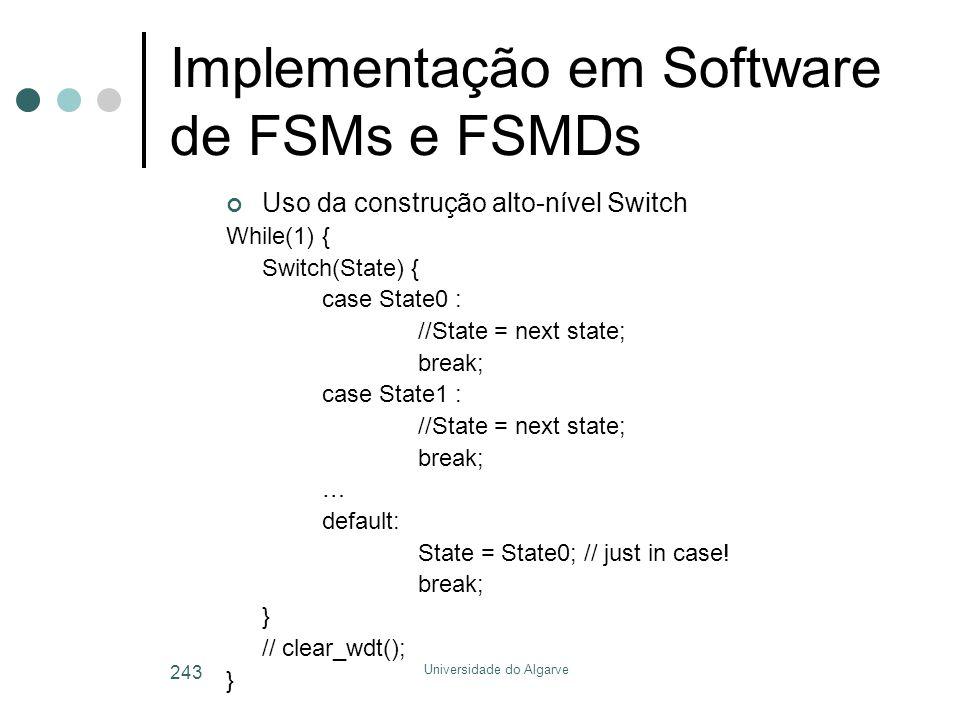 Universidade do Algarve 243 Implementação em Software de FSMs e FSMDs Uso da construção alto-nível Switch While(1) { Switch(State) { case State0 : //State = next state; break; case State1 : //State = next state; break; … default: State = State0; // just in case.
