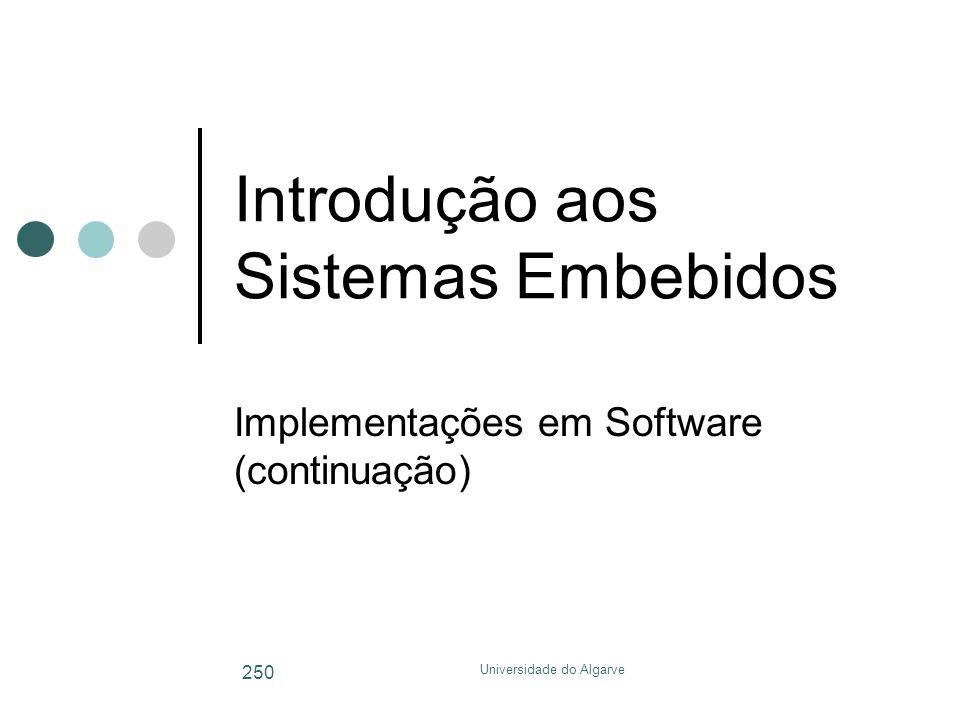 Universidade do Algarve 250 Introdução aos Sistemas Embebidos Implementações em Software (continuação)