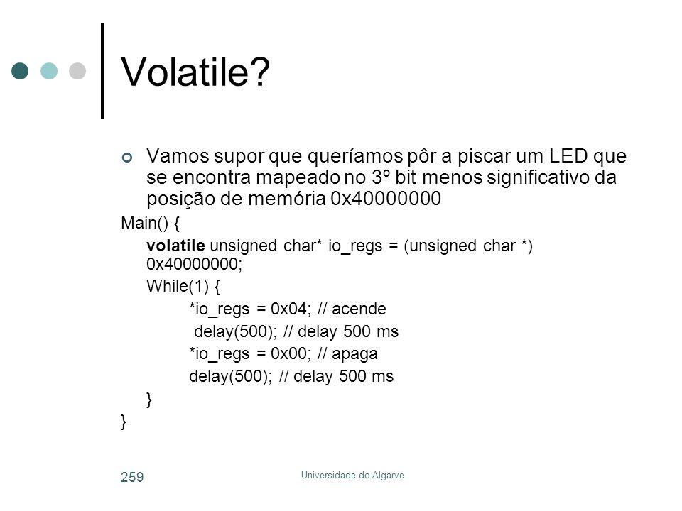 Universidade do Algarve 259 Volatile.