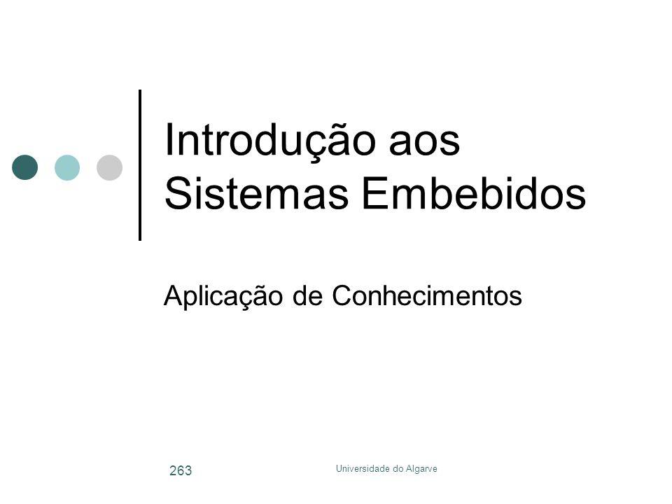 Universidade do Algarve 263 Introdução aos Sistemas Embebidos Aplicação de Conhecimentos