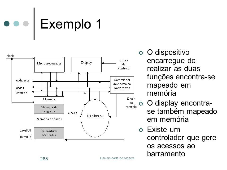 Universidade do Algarve 265 Exemplo 1 O dispositivo encarregue de realizar as duas funções encontra-se mapeado em memória O display encontra- se també