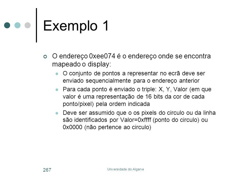 Universidade do Algarve 267 Exemplo 1 O endereço 0xee074 é o endereço onde se encontra mapeado o display:  O conjunto de pontos a representar no ecrã deve ser enviado sequencialmente para o endereço anterior  Para cada ponto é enviado o triple: X, Y, Valor (em que valor é uma representação de 16 bits da cor de cada ponto/pixel) pela ordem indicada  Deve ser assumido que o os pixels do circulo ou da linha são identificados por Valor=0xffff (ponto do circulo) ou 0x0000 (não pertence ao circulo)