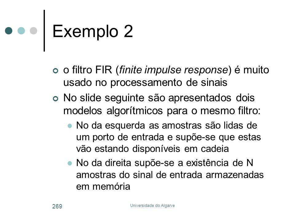 Universidade do Algarve 269 Exemplo 2 o filtro FIR (finite impulse response) é muito usado no processamento de sinais No slide seguinte são apresentad