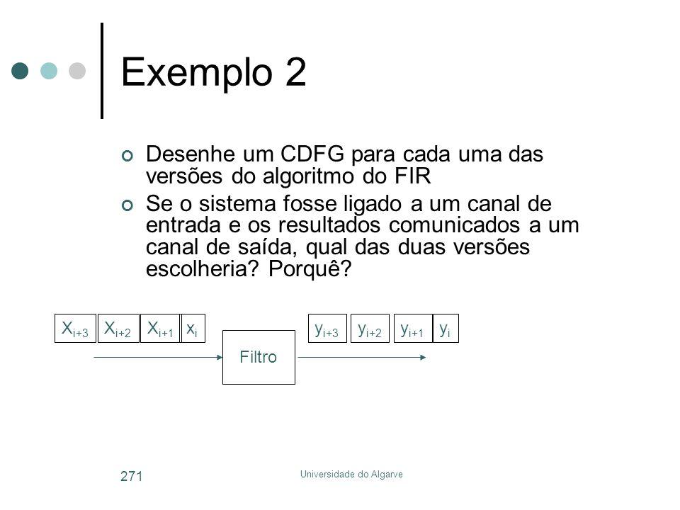 Universidade do Algarve 271 Exemplo 2 Desenhe um CDFG para cada uma das versões do algoritmo do FIR Se o sistema fosse ligado a um canal de entrada e os resultados comunicados a um canal de saída, qual das duas versões escolheria.