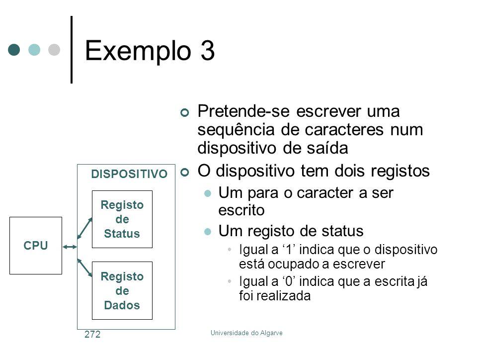Universidade do Algarve 272 Exemplo 3 Pretende-se escrever uma sequência de caracteres num dispositivo de saída O dispositivo tem dois registos  Um p