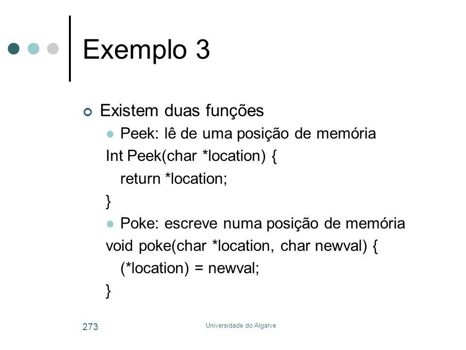 Universidade do Algarve 273 Exemplo 3 Existem duas funções  Peek: lê de uma posição de memória Int Peek(char *location) { return *location; }  Poke: escreve numa posição de memória void poke(char *location, char newval) { (*location) = newval; }