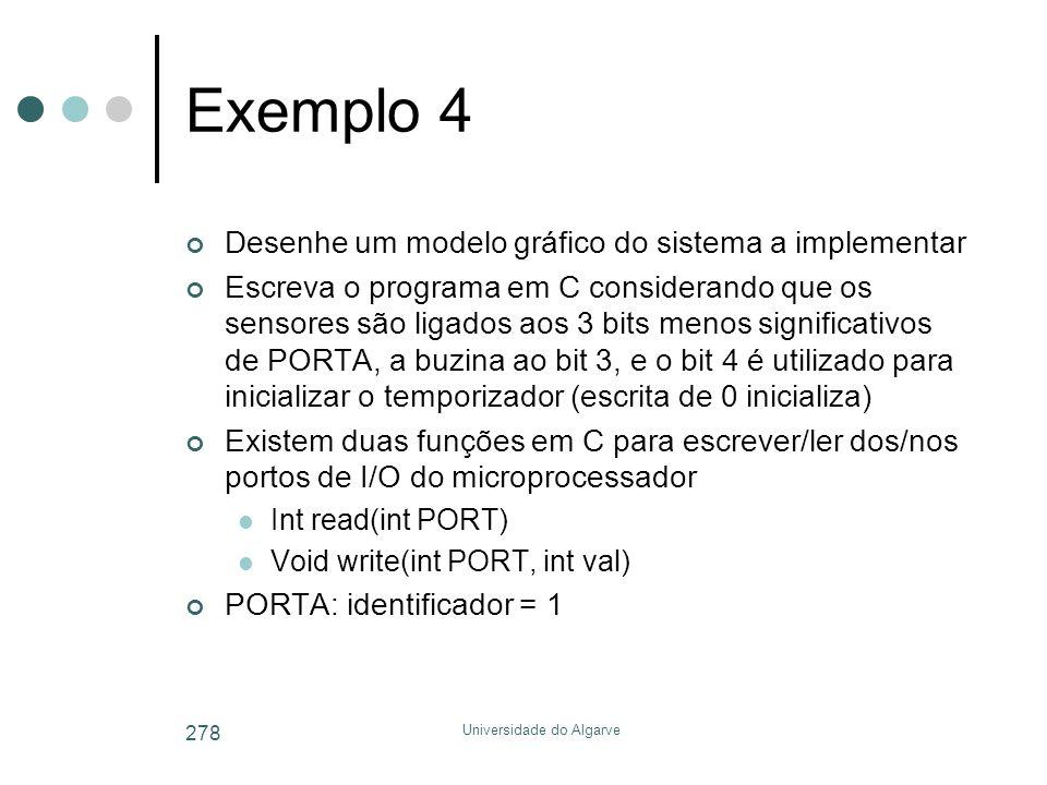 Universidade do Algarve 278 Exemplo 4 Desenhe um modelo gráfico do sistema a implementar Escreva o programa em C considerando que os sensores são ligados aos 3 bits menos significativos de PORTA, a buzina ao bit 3, e o bit 4 é utilizado para inicializar o temporizador (escrita de 0 inicializa) Existem duas funções em C para escrever/ler dos/nos portos de I/O do microprocessador  Int read(int PORT)  Void write(int PORT, int val) PORTA: identificador = 1