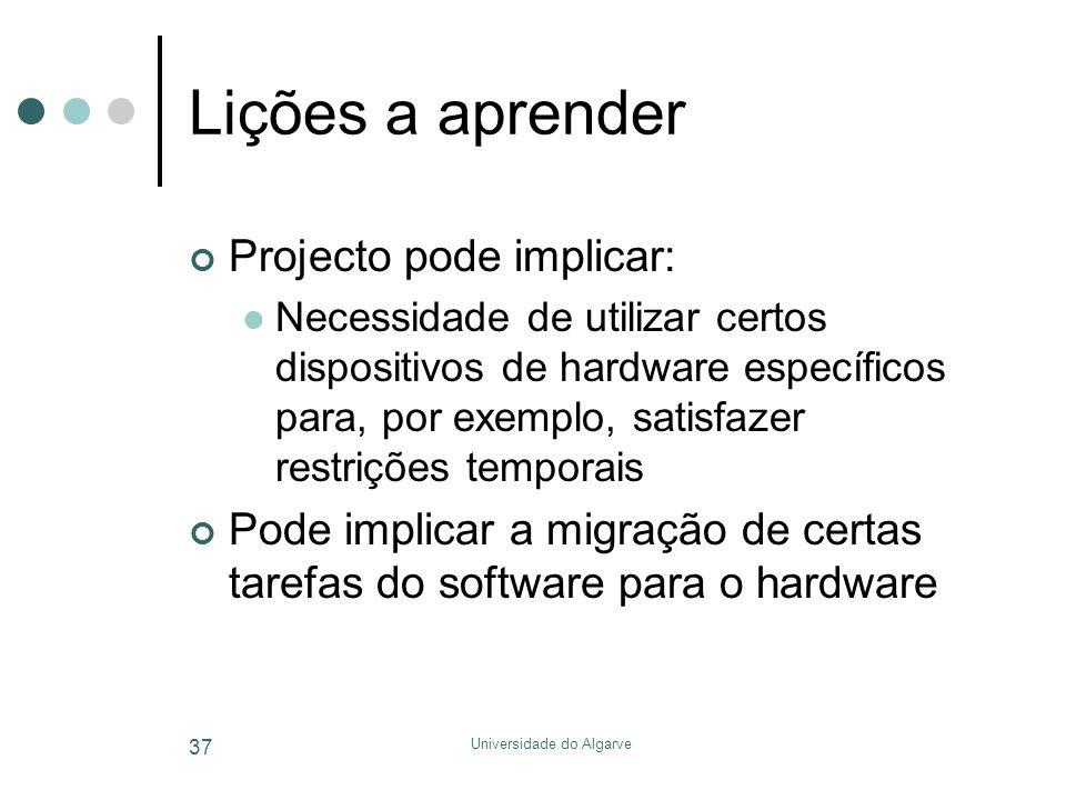 Universidade do Algarve 37 Lições a aprender Projecto pode implicar:  Necessidade de utilizar certos dispositivos de hardware específicos para, por exemplo, satisfazer restrições temporais Pode implicar a migração de certas tarefas do software para o hardware