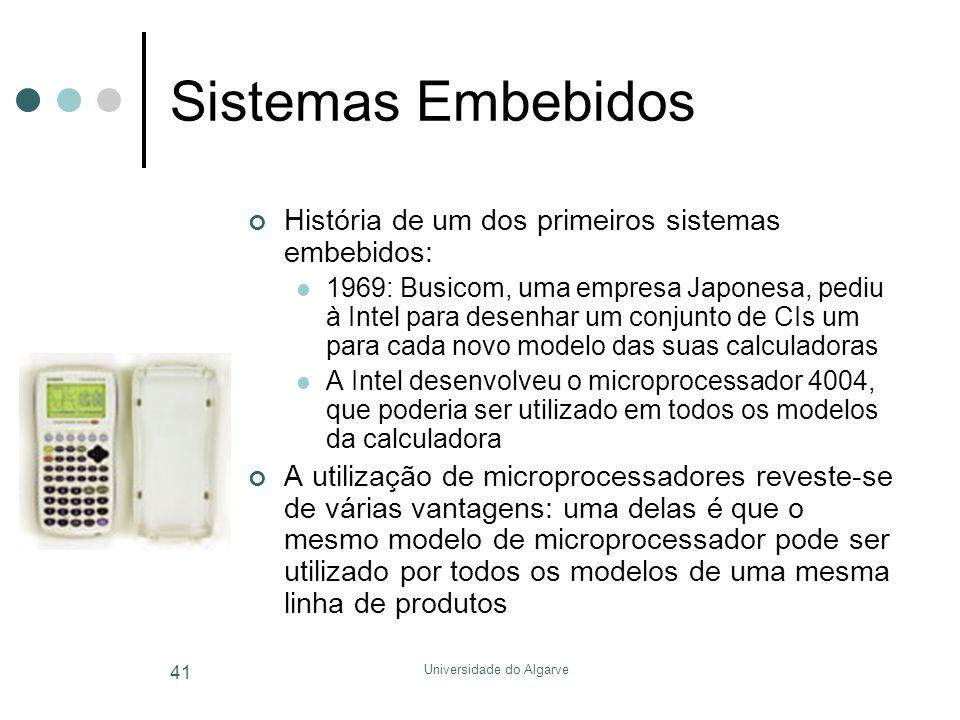 Universidade do Algarve 41 Sistemas Embebidos História de um dos primeiros sistemas embebidos:  1969: Busicom, uma empresa Japonesa, pediu à Intel para desenhar um conjunto de CIs um para cada novo modelo das suas calculadoras  A Intel desenvolveu o microprocessador 4004, que poderia ser utilizado em todos os modelos da calculadora A utilização de microprocessadores reveste-se de várias vantagens: uma delas é que o mesmo modelo de microprocessador pode ser utilizado por todos os modelos de uma mesma linha de produtos