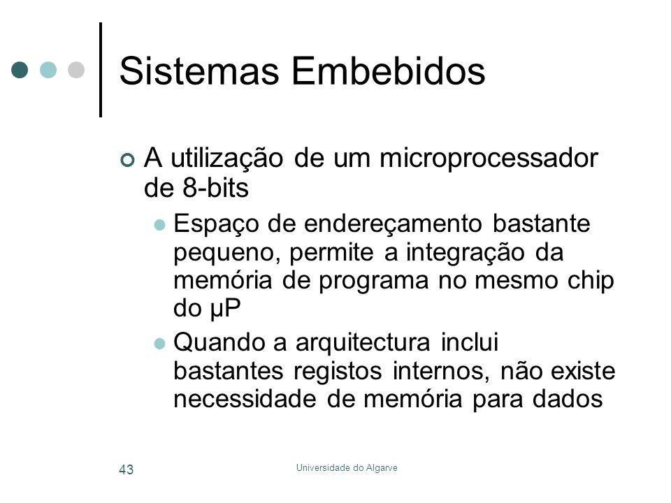 Universidade do Algarve 43 Sistemas Embebidos A utilização de um microprocessador de 8-bits  Espaço de endereçamento bastante pequeno, permite a inte