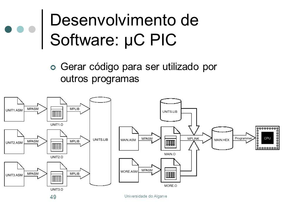 Universidade do Algarve 49 Desenvolvimento de Software: µC PIC Gerar código para ser utilizado por outros programas