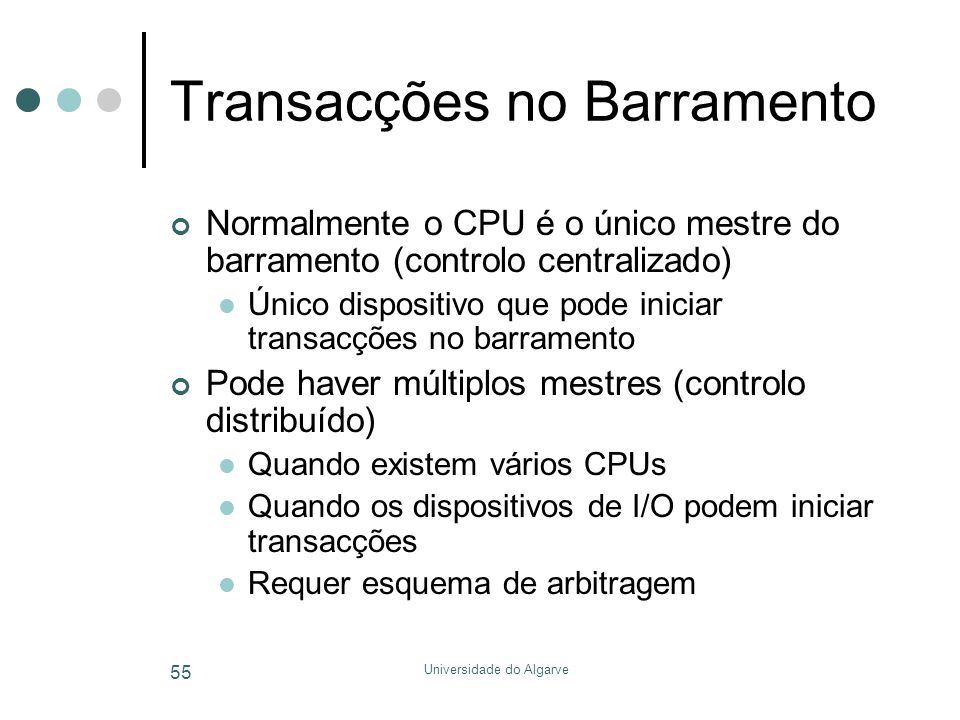 Universidade do Algarve 55 Transacções no Barramento Normalmente o CPU é o único mestre do barramento (controlo centralizado)  Único dispositivo que