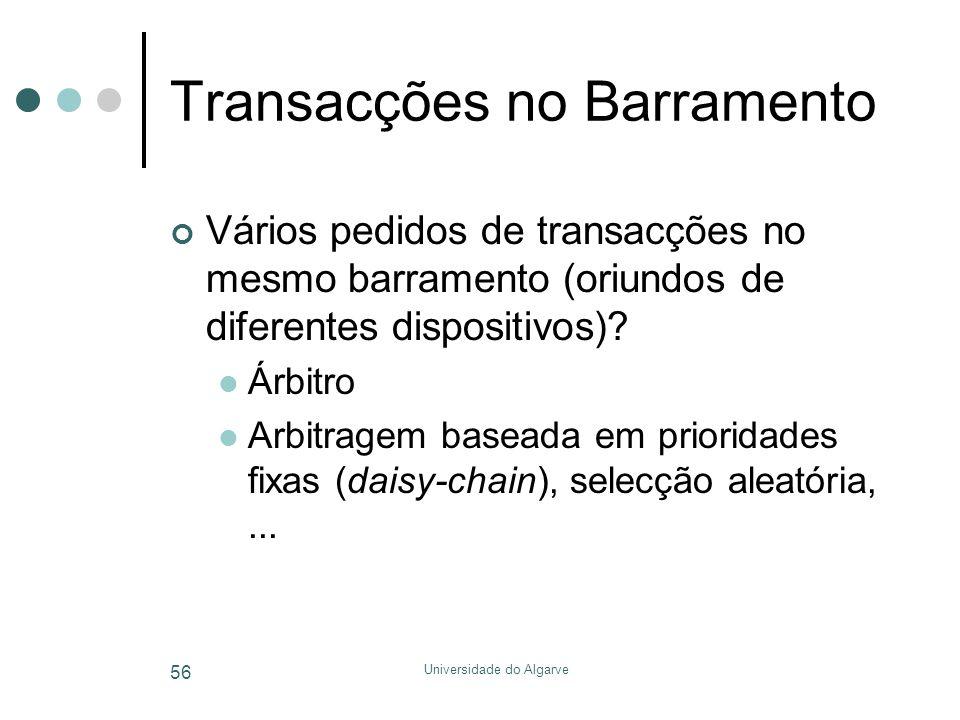 Universidade do Algarve 56 Transacções no Barramento Vários pedidos de transacções no mesmo barramento (oriundos de diferentes dispositivos)?  Árbitr