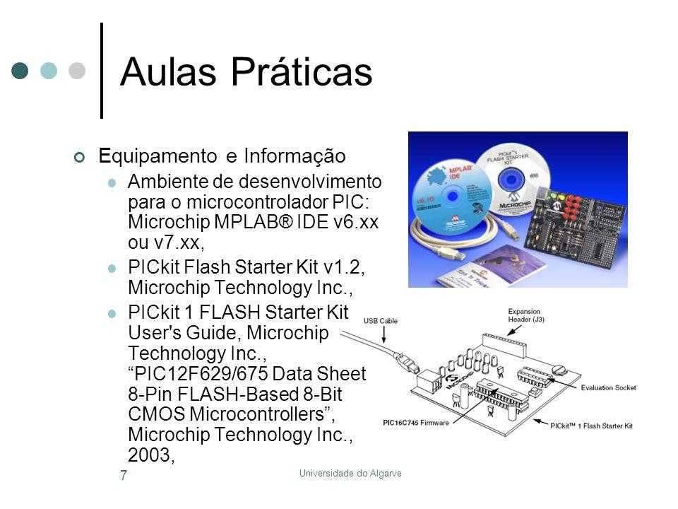 Universidade do Algarve 7 Aulas Práticas Equipamento e Informação  Ambiente de desenvolvimento para o microcontrolador PIC: Microchip MPLAB® IDE v6.xx ou v7.xx,  PICkit Flash Starter Kit v1.2, Microchip Technology Inc.,  PICkit 1 FLASH Starter Kit User s Guide, Microchip Technology Inc., PIC12F629/675 Data Sheet 8-Pin FLASH-Based 8-Bit CMOS Microcontrollers , Microchip Technology Inc., 2003,