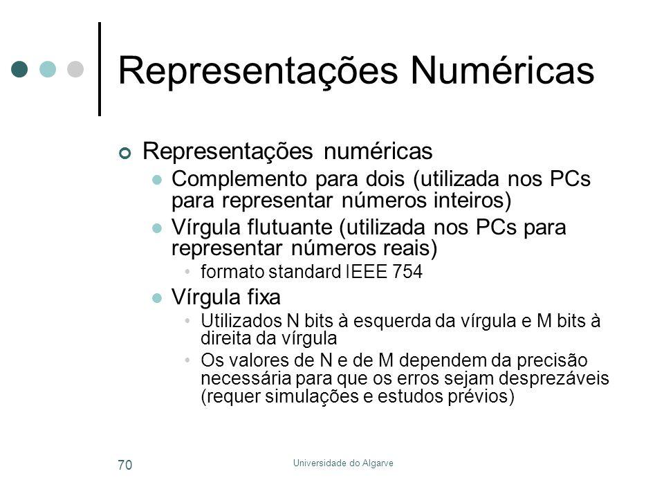 Universidade do Algarve 70 Representações Numéricas Representações numéricas  Complemento para dois (utilizada nos PCs para representar números inteiros)  Vírgula flutuante (utilizada nos PCs para representar números reais) •formato standard IEEE 754  Vírgula fixa •Utilizados N bits à esquerda da vírgula e M bits à direita da vírgula •Os valores de N e de M dependem da precisão necessária para que os erros sejam desprezáveis (requer simulações e estudos prévios)