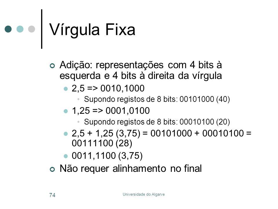 Universidade do Algarve 74 Vírgula Fixa Adição: representações com 4 bits à esquerda e 4 bits à direita da vírgula  2,5 => 0010,1000 •Supondo registos de 8 bits: 00101000 (40)  1,25 => 0001,0100 •Supondo registos de 8 bits: 00010100 (20)  2,5 + 1,25 (3,75) = 00101000 + 00010100 = 00111100 (28)  0011,1100 (3,75) Não requer alinhamento no final