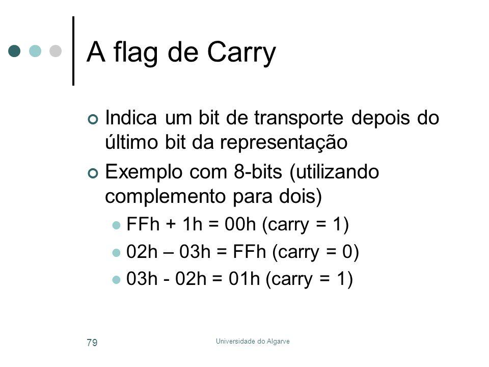 Universidade do Algarve 79 A flag de Carry Indica um bit de transporte depois do último bit da representação Exemplo com 8-bits (utilizando complemento para dois)  FFh + 1h = 00h (carry = 1)  02h – 03h = FFh (carry = 0)  03h - 02h = 01h (carry = 1)