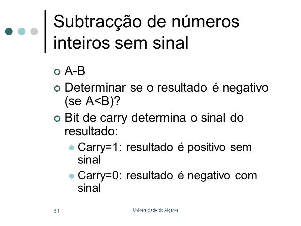 Universidade do Algarve 81 Subtracção de números inteiros sem sinal A-B Determinar se o resultado é negativo (se A<B)? Bit de carry determina o sinal