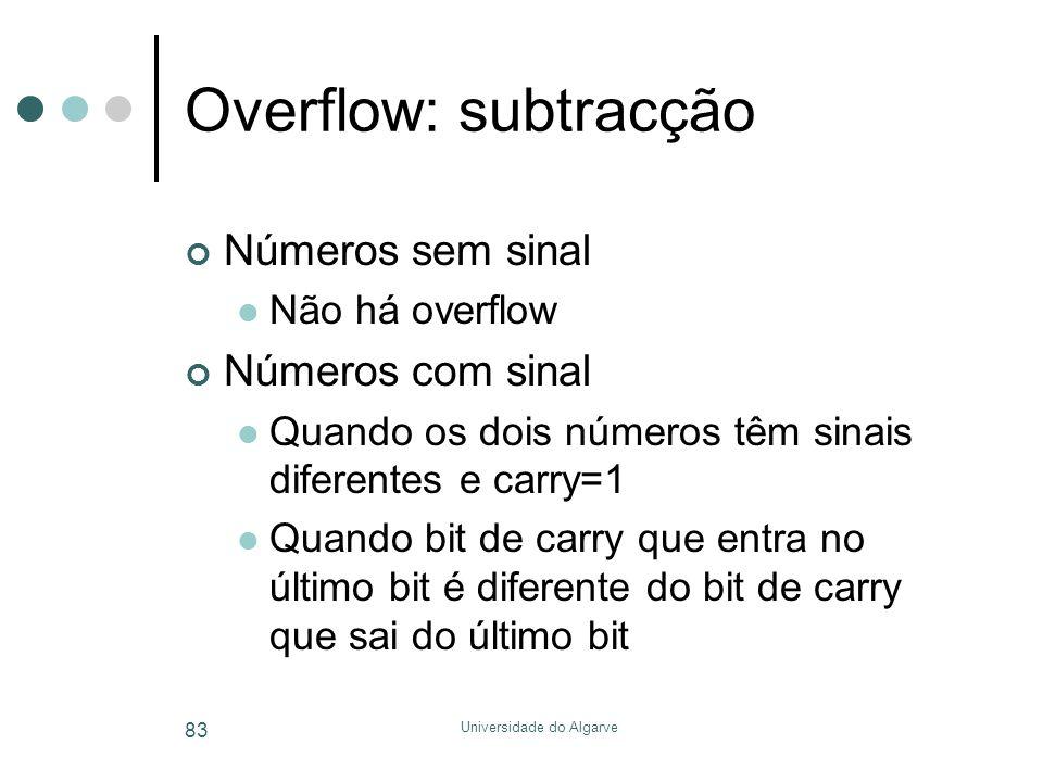 Universidade do Algarve 83 Overflow: subtracção Números sem sinal  Não há overflow Números com sinal  Quando os dois números têm sinais diferentes e
