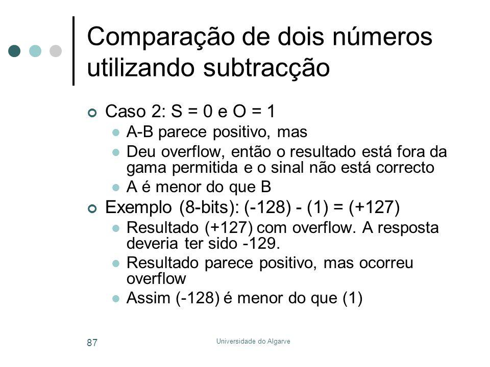 Universidade do Algarve 87 Comparação de dois números utilizando subtracção Caso 2: S = 0 e O = 1  A-B parece positivo, mas  Deu overflow, então o resultado está fora da gama permitida e o sinal não está correcto  A é menor do que B Exemplo (8-bits): (-128) - (1) = (+127)  Resultado (+127) com overflow.