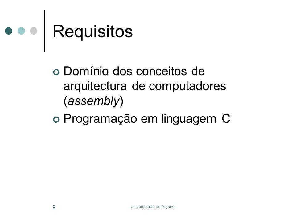 Universidade do Algarve 240 Tempos de espera Rotina sintonizada por medições ou simulações Void delay(unsigned int nMilliseconds) { /* Number of decrement-and-test cycles.*/ #define CYCLES_PER_MS 260 unsigned long nCycles = nMilliseconds * CYCLES_PER_MS; while (nCycles--); } /* delay() */