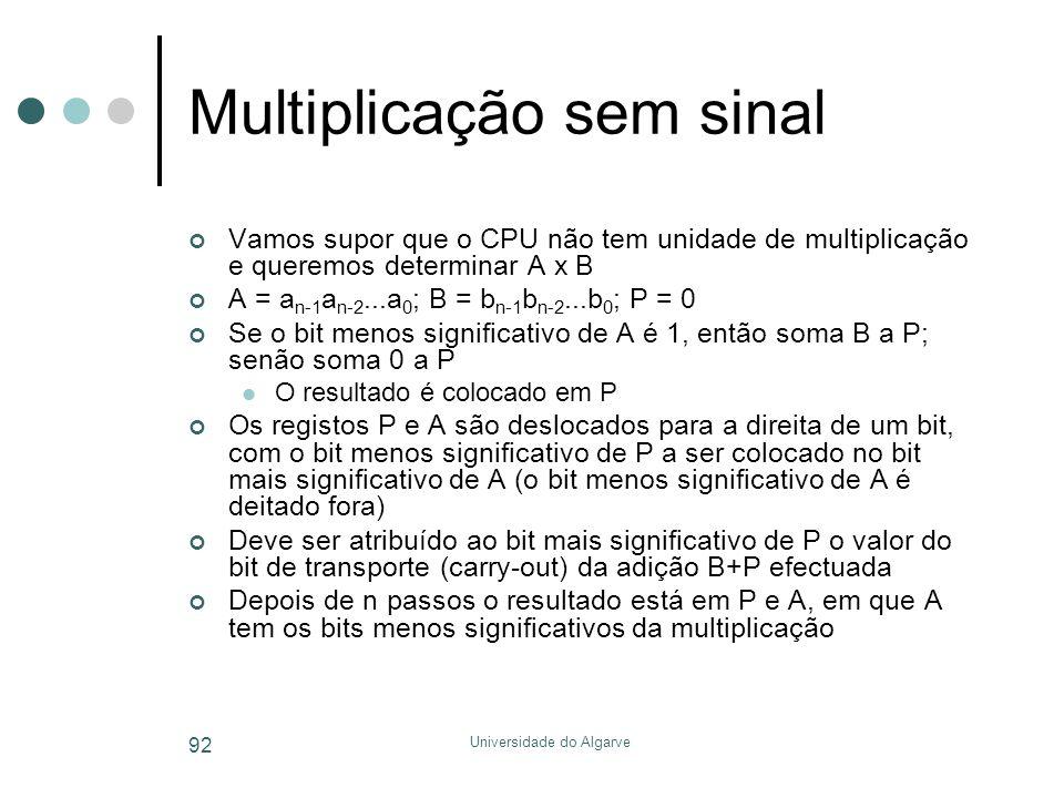 Universidade do Algarve 92 Multiplicação sem sinal Vamos supor que o CPU não tem unidade de multiplicação e queremos determinar A x B A = a n-1 a n-2...a 0 ; B = b n-1 b n-2...b 0 ; P = 0 Se o bit menos significativo de A é 1, então soma B a P; senão soma 0 a P  O resultado é colocado em P Os registos P e A são deslocados para a direita de um bit, com o bit menos significativo de P a ser colocado no bit mais significativo de A (o bit menos significativo de A é deitado fora) Deve ser atribuído ao bit mais significativo de P o valor do bit de transporte (carry-out) da adição B+P efectuada Depois de n passos o resultado está em P e A, em que A tem os bits menos significativos da multiplicação