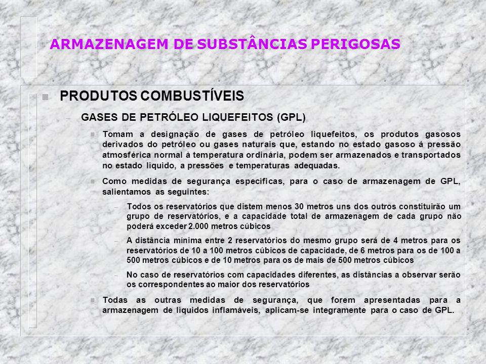 n PRODUTOS COMBUSTÍVEIS – GASES DE PETRÓLEO LIQUEFEITOS (GPL) n Tomam a designação de gases de petróleo liquefeitos, os produtos gasosos derivados do